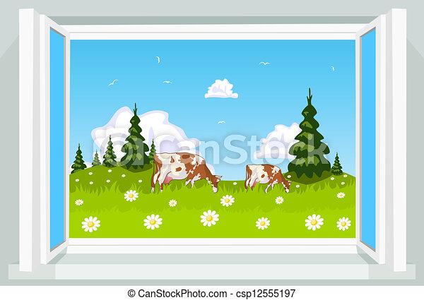 Escena de primavera a través de la ventana abierta, ilustración - csp12555197