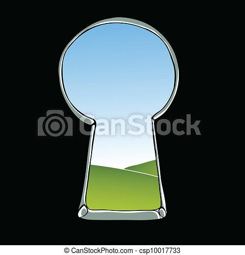 Ilustración del ojo de la cerradura. Vista del paisaje a través de la cerradura. Vector. - csp10017733