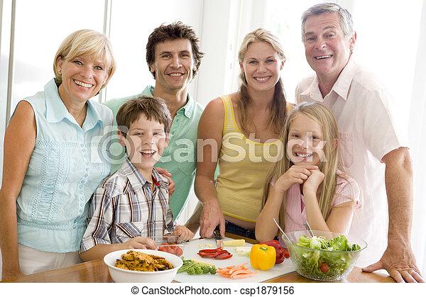 pora na posiłek, przygotowując, razem, rodzinna mąka - csp1879156