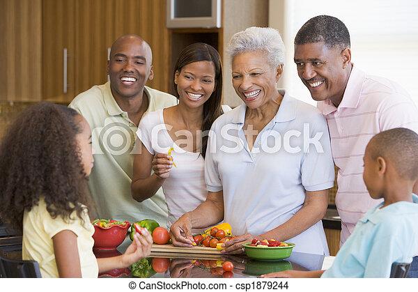 pora na posiłek, przygotowując, razem, rodzinna mąka - csp1879244