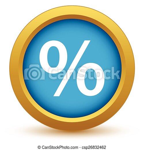Un icono de porcentaje de oro - csp26832462