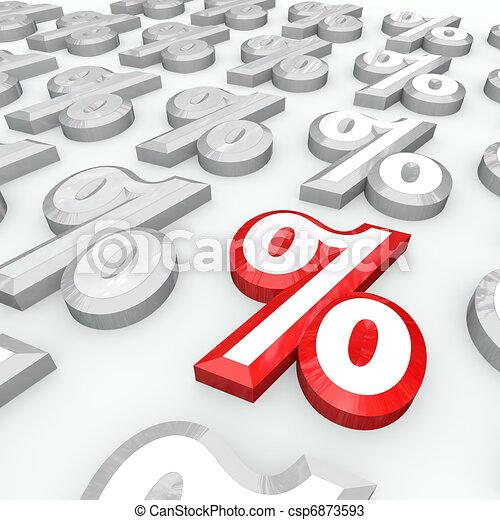 Simbolos por ciento, el mejor porcentaje de crecimiento o tasa de interés - csp6873593