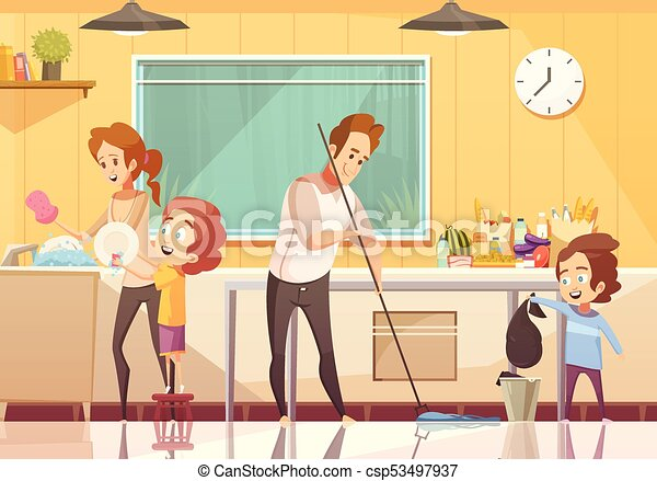 Ninos Ayudando A Limpiar El Poster De Dibujos Animados Ninos