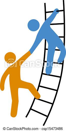 Gente ayudando a subir la escalera - csp15473486