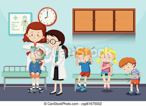 Doctores ayudando a niños heridos - csp61675002