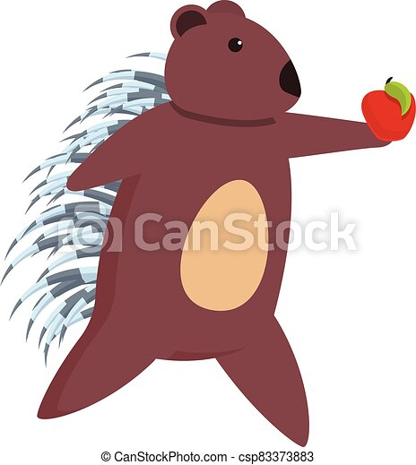 Porcupine take red apple icon, cartoon style - csp83373883