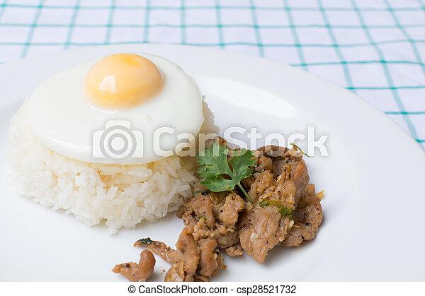Pork fried with garlic - csp28521732