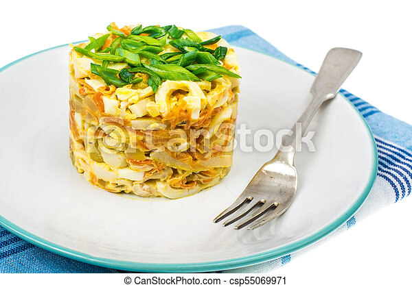 Pork salad with squid on plate - csp55069971
