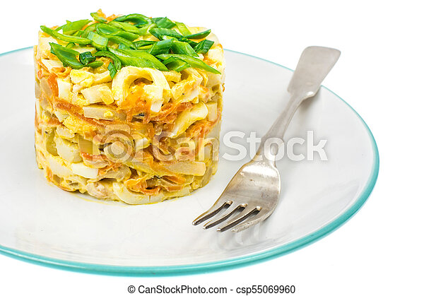 Pork salad with squid on plate - csp55069960