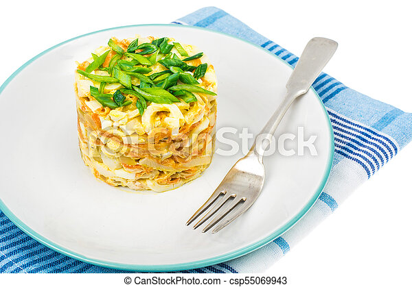 Pork salad with squid on plate - csp55069943