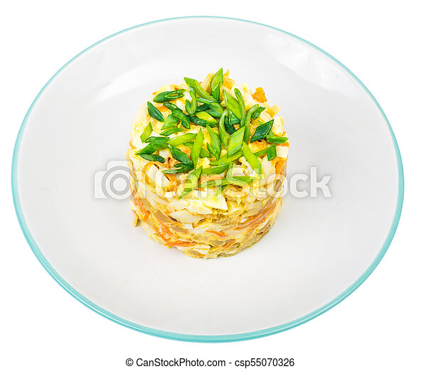 Pork salad with squid on plate - csp55070326
