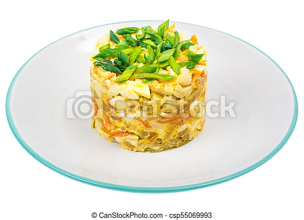 Pork salad with squid on plate - csp55069993