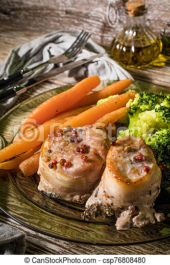 Pork tenderloin wrapped in bacon. - csp76808480