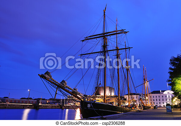 port, grand, copenhague, bateau, danemark - csp2306288