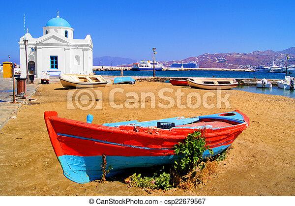 port, mykonos - csp22679567