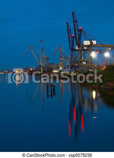 Port of Gdynia at night. - csp5078238