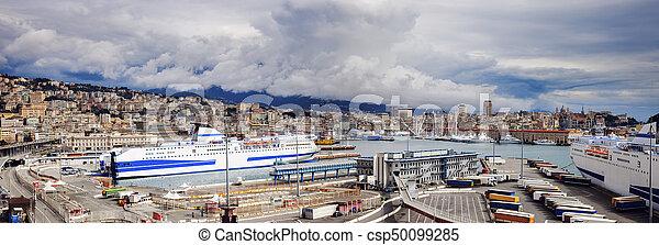 Port of Genoa - panoramic view - csp50099285