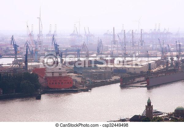 Port of Hamburg in the fog, Germany - csp32449498