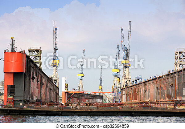 Port of Hamburg on the river Elbe, the largest port in Germany - csp32694859