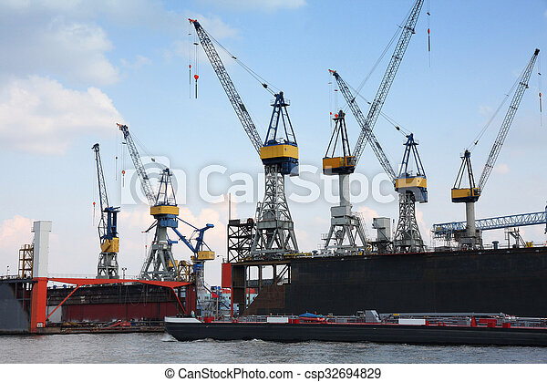 Port of Hamburg on the river Elbe, the largest port in Germany - csp32694829