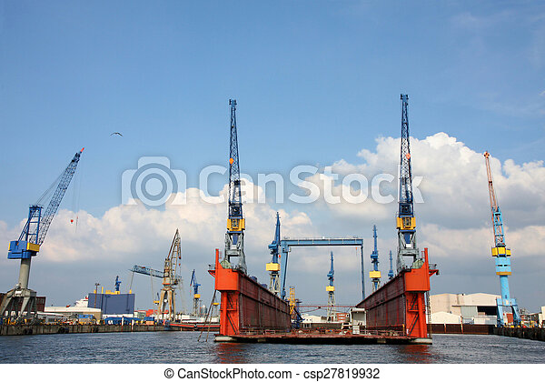 Port of Hamburg on the river Elbe, the largest port in Germany - csp27819932