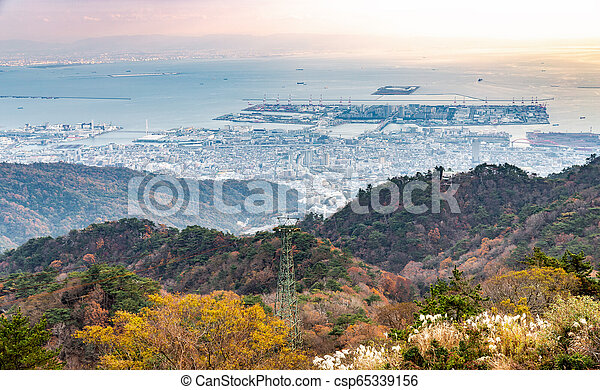 Port of Kobe from Rokko mountain view - csp65339156