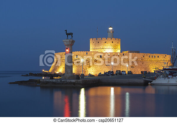 Port of Rhodes island in Greece. - csp20651127