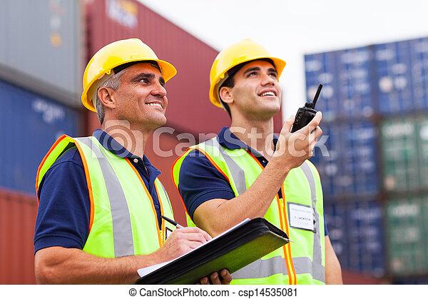 port, ouvriers, chargement, contrôler, récipients - csp14535081