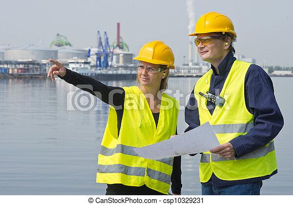port, ouvriers, construction - csp10329231