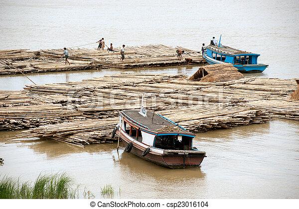 port, rivière, activités, myanmar., ayeyarwady - csp23016104