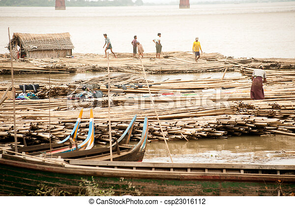 port, rivière, activités, myanmar., ayeyarwady - csp23016112