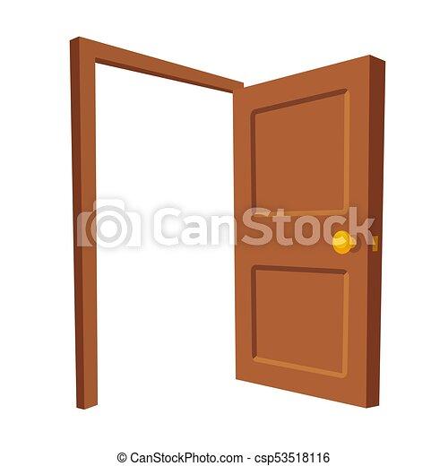 porta aberta, isolado, ilustração - csp53518116