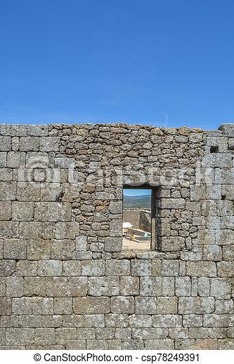 porta, castello, costruendo interno, belmonte, portoghese, medievale, iconic, buco, villaggio, parete, vista, monumento, rovine - csp78249391