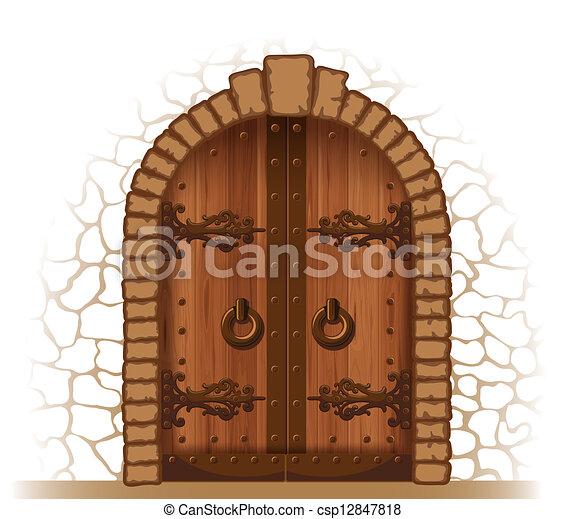 Porta legno. Pietra, porta, arched, parete legno, medievale.
