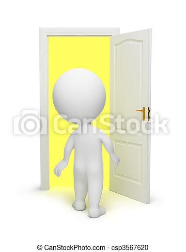 porta, pessoas, -, pequeno, abertos, 3d - csp3567620