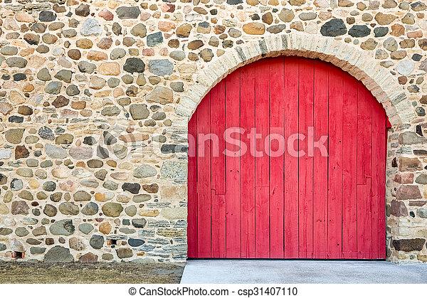 porta, pietra, arched, rosso, luminoso, parete - csp31407110
