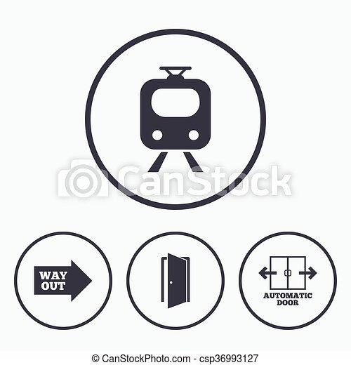 porta, símbolo., trem, estrada ferro, automático, icon. - csp36993127