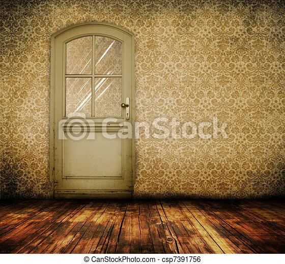 porta, stanza, vecchio - csp7391756