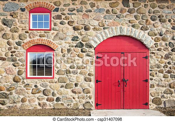 porta, windows, arched, rosso, luminoso - csp31407098