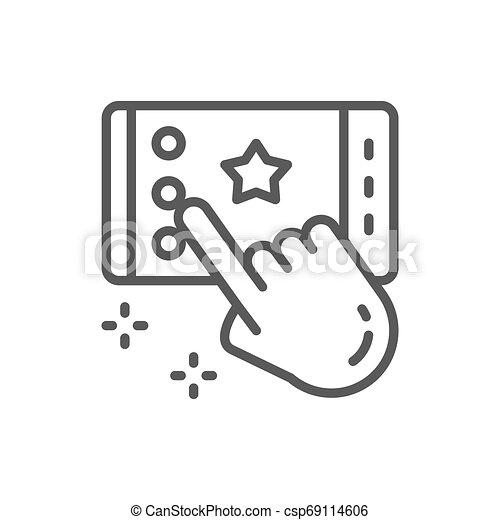 Portable game on smartphone, app line icon. - csp69114606
