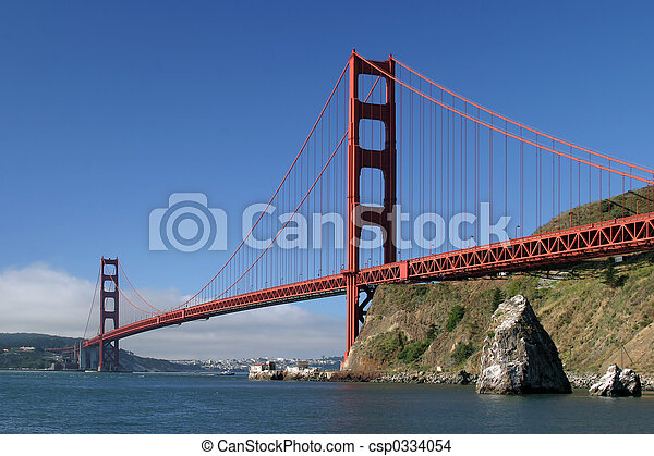 portail, doré, pont - csp0334054