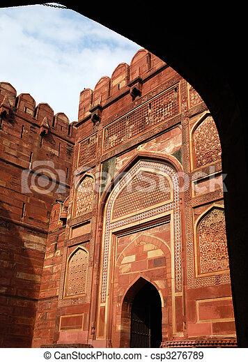portail, entrée, fort, agra - csp3276789