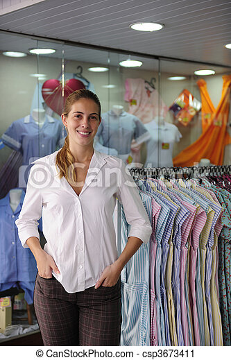 portait of a retail store owner  - csp3673411