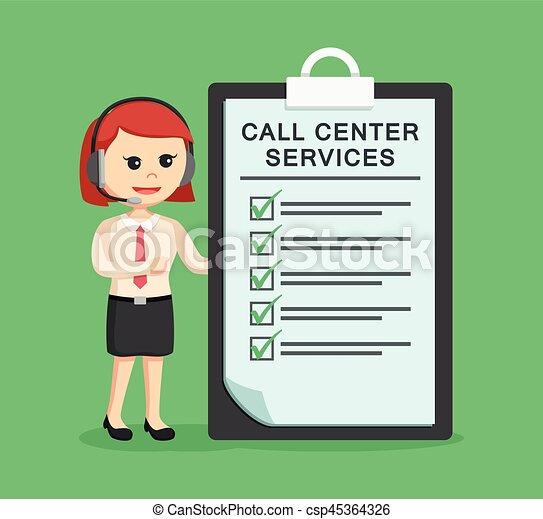 Llama a la mujer del centro con portapapeles - csp45364326