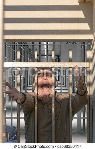 porte, atteindre, liberté, prison, dehors, crier, homme - csp68350417