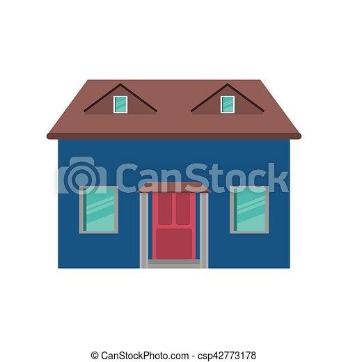 Porte Bleue, Simple, Maison, Dessin Animé, Rouges   Csp42773178