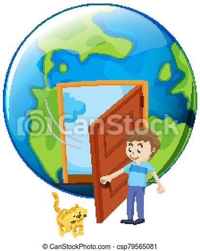 porte, chouchou, chat, ouverture, homme, la terre - csp79565081