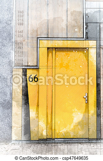 Porte, maison, moderne, jaune, architecte, architecture, dessin ...