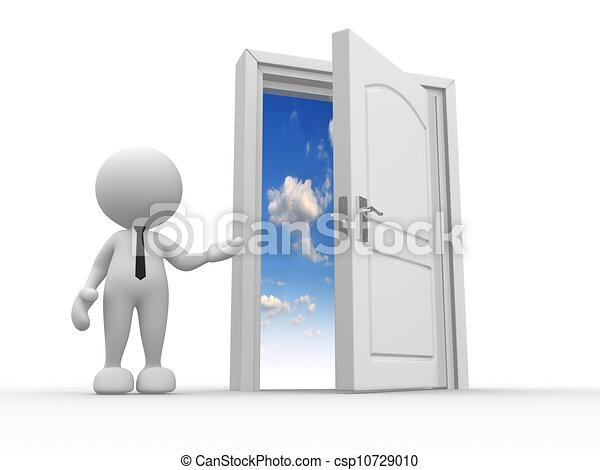 Porte ouverte ciel porte gens quipent personne for Porte ouverte dessin