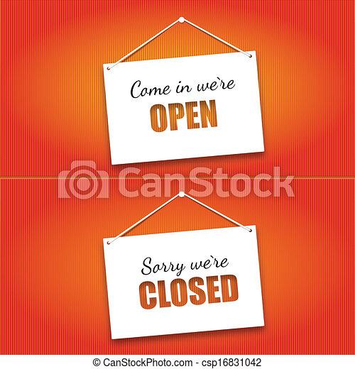 porte ouverte, planche, signes fermés - csp16831042